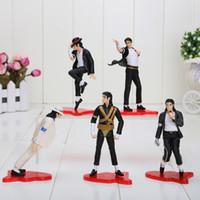 """Wholesale Michael Jackson Figures - NEW 4"""" MICHAEL JACKSON FIGURES dolls 5pcs set POSE PVC Action Figures Toy in opp bag"""