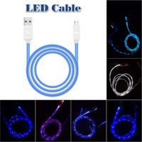Wholesale I5 Phone Charger - Lighting USB Cables 1M Micro USB Date Cable for Samusng HTC i5 i6 i7 Mobile Phone LED Luminous charger cable without Package