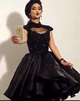schwarze formale knie hohe kleider großhandel-2016 kleine Schwarze Kurze Cocktail Party Kleider High Neck Perlen Sexy Knielangen Frauen Formale Abendkleid Kleider Nach Maß
