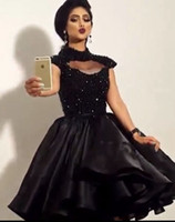 vestidos de cocktail pretos para adolescentes venda por atacado-2016 Pouco Preto Curto Cocktail Party Vestidos de Gola Alta Frisado Sexy Na Altura Do Joelho Mulheres Formal Prom Dress Vestidos Custom Made