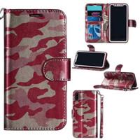 iphone 5s stehen fall großhandel-Camo Camouflage Brieftasche Ledertasche für iPhone 7 6 Plus 5 5 s Samsung S6 S7 Rand Kartensteckplatz Cash Skin Halter Flip Stand Case Cover
