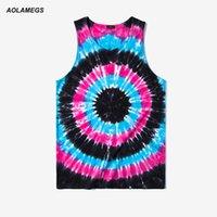 Wholesale Men S Tie Paisley - Wholesale- Aolamegs Tank Tops Men Tie Dye Rainbow Color Tee Sleeveless T Shirts Homme 2017 Spring Summer Hip Hop Fashion Streetwear M-XXL