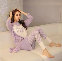 Wholesale Lycra Long Nightwear - Wholesale-Women Korean autumn long sleeve pajamas wholesale new home leisure suit household to take cartoon pajamas sleepwear nightwear