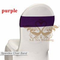 Wholesale Chair Bow Spandex Purple - Purple Color Lycra Chair Band \ Spandex Chair Sash Bow For Chair Cover