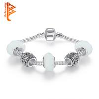 Wholesale Chain For Handmade Bracelet Wholesale - BELAWANG European Handmade Silver Plated Color Charms Bracelet With White Murano Glass Beads Bracelest&Bangles for Women Wedding Jewelry
