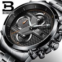 Wholesale Dashboard Leather - Binger Shark Sport Watch White 3D Dashboard Date Day Month Black Steel Band Oversized Big Case Quartz Men's Wrist Watches