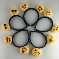 Wholesale Hair Grass Man - SALE! 15% off! New Arrival Lovely Headwear Emoji QQ Smiley Emoticon Amusing Headband Customized Hair Band for Men Womens 12 style 8pcs