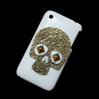 Wholesale Hard Cover For Iphone 3g - White Case Cover for iPhone 3 3G 3GS, Vintage Retro Bronze Metallic Skeleton Skull Punk Stud Rivet Spike Back Hard Protective Skin Shell