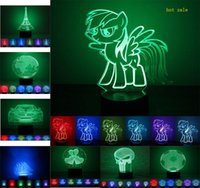 Wholesale Color Changing Led Christmas Tree - 65 Style Hot Sale 3D Night Lights LED Lights 7 Color Changing Lighting 3D Lamp Illusion LED Lamp For Christmas Gifts DHL Free