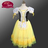 vestido de tutú amarillo para adultos al por mayor-Giselle Degas vestido de tutú de ballet campesino LD0003D amarillo Giselle Tutu vestido de niñas vestido romántico de tutú Vestidos de ballet para adultos