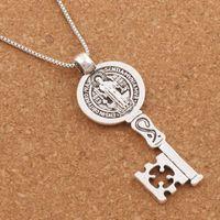 Wholesale Religious Key Chains - 20pcs lot Saint Benedict Medal Cross Smqlivb Key Religious Pendant Necklaces 24 inches Antique Silver Chains N1684 25x59mm