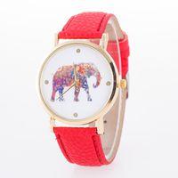 Wholesale Watches Elephant Design - 2016 men women elephant design flower printing ladies gentlemen leather PU wrist watch fashion quartz watches
