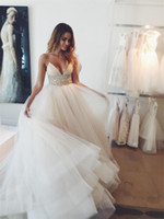 Wholesale Cheap Long Tutu Skirts - Beach Wedding Dresses 2016 Modest Spaghetti Strap Sash Beads Sequins Cheap Bridal Dress Tulle Tutu Layers Zipper Back Bohemia Wedding Gowns