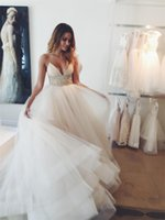 Wholesale long back tutu resale online - Beach Wedding Dresses Modest Spaghetti Strap Sash Beads Sequins Cheap Bridal Dress Tulle Tutu Layers Zipper Back Bohemia Wedding Gowns