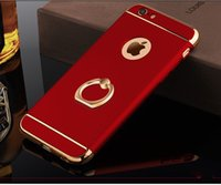 Wholesale Iphone Chrome Ring - For iPhone 6 6S Plus Shockproof 3 in 1 Rotating Ring Stand Armor Hard Back Case Chrome Cover For iphone6 6plus
