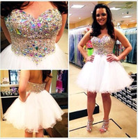Wholesale Knee Length Corset Prom Dresses - Gorgeous Short Prom Gowns Strapless with Rhinestones Corset Bodice Tiers Tulle Knee Length Ball Gowns with Crystal Cocktail Dresses BA2325