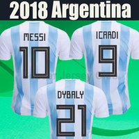 Wholesale Russia Soccer - 2018 Argentina jersey World Cup soccer Jerseys MESSI DI MARIA DYBALA AGUERO HIGUAIN ICARDI Russia Camisetas top thai football shirt Uniform