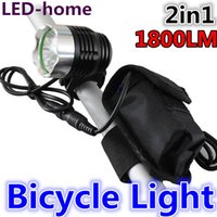 Wholesale Cree Flashlight Pouch - 1800 Lumen CREE XML T6 LED Bicycle light bike 2in1 Lamp Flashlight Light Headlamp +Pouch