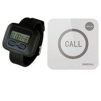 SINGCALL Wireless Restaurant Service Calling System 1 Watch Receiver e 1 Touchable Bell Button