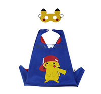 Wholesale Halloween Double layers poke Capes mask set Elf Ball pikachu cape mask set for Kids CM
