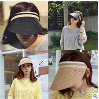 Wholesale Simple Straw Hats - Wholesale- 2016 new simple bow straw empty top hat sun hats for women summer holiday hat wholesale toca feminina chapeau Panama