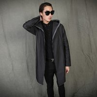 Wholesale Trench Coat Jeans Fashion - Fall-2016 Man's Hooded trench Coat Casual vintage Handsome Fashion Men denim Cardigan Coat Men Long Style Jeans Overcoat Q278