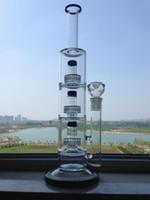 plataformas petroleras de base gruesa al por mayor-Big Bong Glass Pipes de agua Triple Matrix Perc Thick Recycler Bubbler Oil Rigs 14
