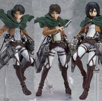 Wholesale Anime Ship Free - Anime Attack on Titan Eren Mikasa Ackerman Levi Rivaille Figma PVC Action Figure Model Toy Free Shipping
