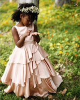 Wholesale Tiered Chiffon Flower Girl Dresses - Flesh Pink Tiered Flower Girl Dresses 2016 Chiffon Floor Length Zipper Back Black Girls Pageant Gowns Kids Formal Party Dresses Custom Made