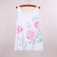 Wholesale Everyday Women Dresses - Beautiful flower print women top tees 2016 summer dress new arrival female tanks new fabric clothing customized apparel mix order wholesale