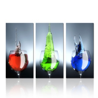 Wholesale wine canvas art for walls - 3 Panel Wine Glass With Colorful Beverage Wall Art Print Canvas Dropship Print Home Decor For Living Room and Bedroom Decor Home Decoration