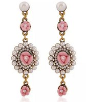 Wholesale Earring Palace Flower - Spring Summer 2017 Palace Vintage Pearl Flower Pastoral Earrings Women Pendant Stud Earrings Beige Pink Blue Green Elegant Jewelry Earrings