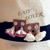 kelebek yaprakları toptan satış-2016 Bez Çiçek Yaprakları Küpe Retro Rhinestone Kristal Kumaş Kelebek Çiçek Kolye Kulak Çiviler Küpe Kadınlar Bayanlar Için