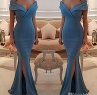 Wholesale Chic Crystals - Chic Buttons Split Ocean Blue Prom Dresses 2018 New Arrival Elegant Off Shoulders V Neck Mermaid Party Wears Gowns Celebrity Evening Dress