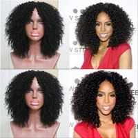 Wholesale Silky Indian Body Wave - Middle Part Kinky Curly Full Lace Wig Unprocessed Human Hair Lace Front Wigs 8A Brazilian Kinky Afro Wigs Black Women With Baby Hair