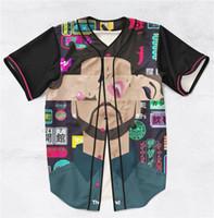 mangas de beisebol personalizado venda por atacado-3 Estilos Real EUA Tamanho Custom made O Weeknd 3D Impressão Sublimaiton Baseball Mangas Curtas Camisa plus size