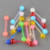 Wholesale Glowing Belly Button Rings - 28pcs Glow Ball Tongue Bars Rings Body Piercing Belly Navel Button Ring Stud shiping