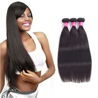 Wholesale unprocessed peruvian hair pack for sale - Group buy Unprocessed Brazilian virgin hair Straight Human Hair bundles pack Bundles natural black can be dyed