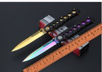 Wholesale Survival Knife Material - Tyrant gold Benchmade butterfly C059 knives aluminum alloy handle material tactical survival knife outdoor hunting tools free shipping