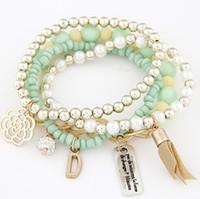 Wholesale lovely tags resale online - Lovely Women Bracelets Fashion Flower Fireball D Tag Pendant Bracelet Women Pearl Beads Elastic Bracelets Black Orange Pink Beige Blue Green