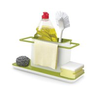 Wholesale Drain Dish Rack - Wholesale-Holder Sponge Kitchen Box Draining Rack Dish Self Draining Sink Storage Rack Kitchen Organizer Stands Utensils Towel Rack KC1123