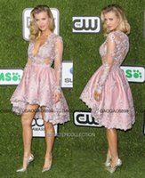 fotos perle kleid großhandel-Walter Collection High Low Lace Langarm knielangen Abschlussball Party Abendkleider 2019 Real Photo Pearl Pink Lace Günstige Homecoming Dress