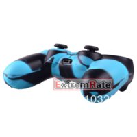 + 1 PCS Silicone Gel caoutchouc Housse de protection Skin Grip Cover pour Playstation 4 PS4 Controller Black Blue Camo