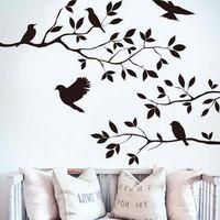 abziehbilder bäume zweige großhandel-2016 Ast und Vögel Vinyl Kunst Wandtattoo Entfernbare Wandaufkleber Wohnkultur Tapete Wandbild Freies Verschiffen