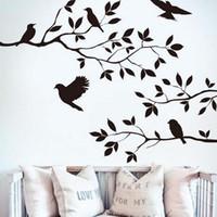 etiqueta do vinil do ramo do pássaro venda por atacado-2016 galho de árvore e pássaros de vinil arte decalque da parede removível adesivo de parede home decor papel de parede mural frete grátis