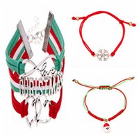 Wholesale 18k Gold Bracelet Thin - 2016 Hot Handmade Christmas Gift Jewelry Thin Red Thread String Rope Bracelet Santa Lover Double Heart Crystal Snowflake Charm Bracelet