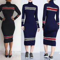 Wholesale Turtleneck Dress Wholesale - Sweater Casual Dress Solid Color Splicing Women Slim Down Turtleneck Fashion Women Long Sweatershirt Dresses Knitted Casual Long Dress