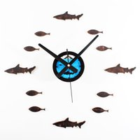 Wholesale Watch Old Wall - Creative home decor Mediterranean style do the old retro creative fish shark DIY wall clock mute watches home decor special gift