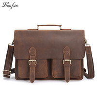 "Wholesale crazy horse briefcase - Wholesale- Men's Vintage genuine leather laptop bag Cow leather business bag 15"" PC crazy horse leather briefcase high quality work tote"