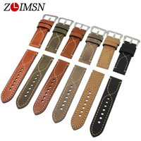 Wholesale black metal strap watches - Watch Bands ZLIMSN 20mm 22mm 24mm 100% Italy Genuine Leather Watchbands Watch Band Strap Stainless Steel Belt Metal buckle Mens